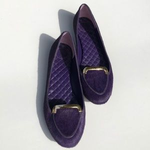 Tory Burch purple Jess calf hair flats